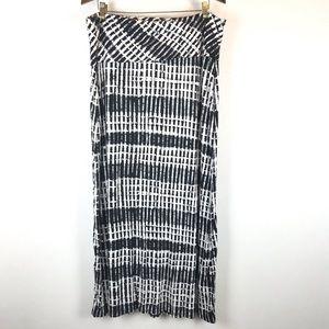 Calvin Klein Black and White Printed Maxi Skirt